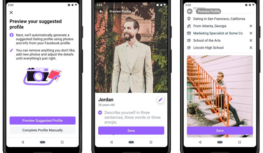 This undated product image provide by Facebook shows screenshots of Facebook Dating, a mobile-only matchmaking service. On Thursday, Sept. 5, 2019, the service will launch in the U.S. (Facebook via AP)