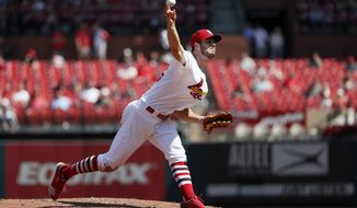 St. Louis Cardinals starting pitcher Dakota Hudson throws during the sixth inning of a baseball game against the San Francisco Giants, Thursday, Sept. 5, 2019, in St. Louis. The Cardinals won 10-0. (AP Photo/Jeff Roberson)