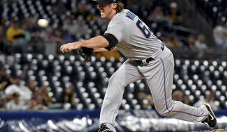 Miami Marlins pitcher Brian Moran throws his first pitch in his major league debut in the fourth inning against the Pittsburgh Pirates, Thursday, Sept. 5, 2019, in Pittsburgh. (Matt Freed/Post-Gazette via AP)/Pittsburgh Post-Gazette via AP)