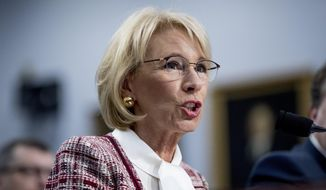 In this March 26, 2019, file photo, Education Secretary Betsy DeVos speaks during a House Appropriations subcommittee hearing on Capitol Hill in Washington. The Education Department is fining Michigan State University $4.5 million for failing to respond to sexual assault complaints against Dr. Larry Nassar. (AP Photo/Andrew Harnik)