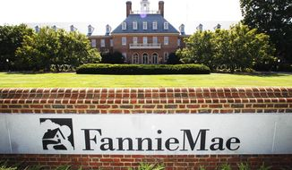 FILE - This Monday, Aug. 8, 2011, file photo shows the Fannie Mae headquarters in Washington. The Trump administration has unveiled its plan for ending government control of Fannie Mae and Freddie Mac, those are the two giant mortgage finance companies that nearly collapsed in the financial crisis 11 years ago and were bailed out by taxpayers at a total cost of $187 billion, Thursday, Sept. 5, 2019. (AP Photo/Manuel Balce Ceneta, File)