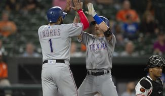 Texas Rangers' Nick Solak celebrates with Elvis Andrus (1) at home plate after hitting a two run home run during the seventh inning of the team's baseball game against the Baltimore Orioles, Thursday, Sept. 5, 2019, in Baltimore. (AP Photo/Tommy Gilligan)