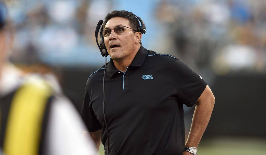 Carolina Panthers head coach Ron Rivera looks on during the first half of an NFL preseason football game against the Pittsburgh Steelers in Charlotte, N.C., Thursday, Aug. 29, 2019. (AP Photo/Mike McCarn) ** FILE **