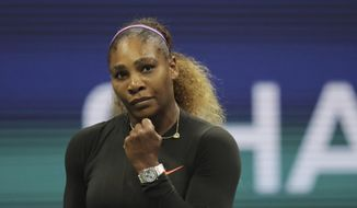 Serena Williams, of the United States, reacts after scoring a point against Elina Svitolina, of Ukraine, during the semifinals of the U.S. Open tennis championships Thursday, Sept. 5, 2019, in New York. (AP Photo/Charles Krupa)