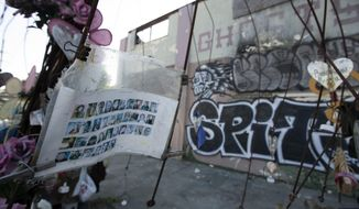 Makeshift memorials erected to the victims of the Ghost Ship warehouse fire, photographed Thursday, Sept. 5, 2019 in Oakland, Calif. Jurors found defendant Max Harris not guilty of involuntary manslaughter and were unable to reach a verdict in the case against co-defendant Derick Almena. (AP Photo/D. Ross Cameron)