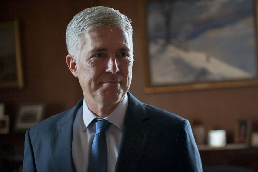 Supreme Court Justice Neil Gorsuch takes time for a portrait in his chambers at the Supreme Court of the United States in Washington, D.C., Wednesday, Aug. 28, 2019. (By Rod Lamkey Jr. for The Washington Times)