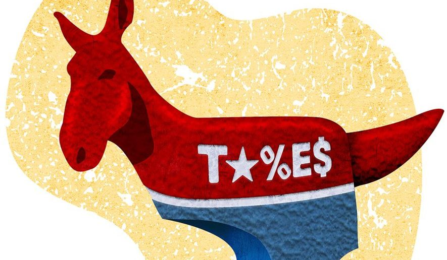 Taxes Democrat Jackass Illustration by Greg Groesch/The Washington Times