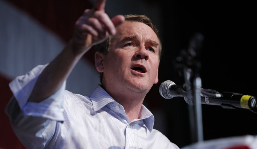 In this Aug. 9, 2019, file photo, Democratic presidential candidate Sen. Michael Bennet, D-Colo., speaks at the Iowa Democratic Wing Ding at the Surf Ballroom, in Clear Lake, Iowa. (AP Photo/John Locher)
