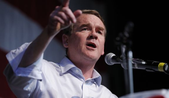 FILE - In this Aug. 9, 2019 file photo, Democratic presidential candidate Sen. Michael Bennet, D-Colo., speaks at the Iowa Democratic Wing Ding at the Surf Ballroom, in Clear Lake, Iowa. Bennet will be endorsed by former Colorado Sen. Gary Hart on Saturday at the New Hampshire Democratic partys convention.  (AP Photo/John Locher)