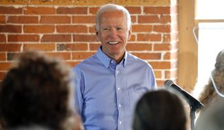 Democratic presidential candidate former Vice President Joe Biden smiles as he speaks during a campaign stop, Friday, Sept. 6, 2019, in Laconia, N.H. (AP Photo/Mary Schwalm)
