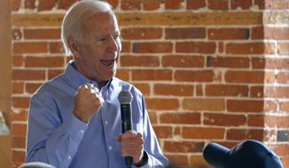 Democratic presidential candidate former Vice President Joe Biden pumps his fist as he speaks during a campaign stop, Friday, Sept. 6, 2019, in Laconia, N.H. (AP Photo/Mary Schwalm)