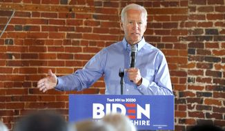 Democratic presidential candidate former Vice President Joe Biden speaks during a campaign stop, Friday, Sept. 6, 2019, in Laconia, N.H. (AP Photo/Mary Schwalm)