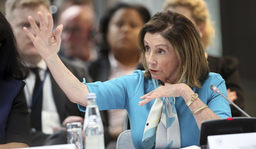 U.S. House Speaker Nancy Pelosi gestures during a meeting at the G7 parliaments summit, in Brest, western France, Friday, Sept. 6, 2019. The leaders of parliament of the Group of Seven leading democracies are meeting in France to discussing protecting the world's oceans and other international cooperation. The G-7 includes the United States, France, Britain, Germany, Japan, Canada and Italy. (AP Photo/David Vincent, Pool)
