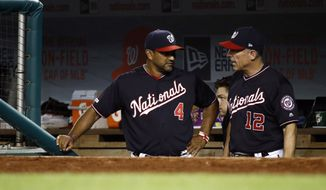 Washington Nationals manager Dave Martinez, left, and bench coach Chip Hale speak in the dugout during a baseball game against the New York Mets, Tuesday, Sept. 3, 2019, in Washington. (AP Photo/Patrick Semansky)