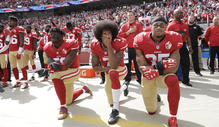FILE - San Francisco 49ers outside linebacker Eli Harold, left, quarterback Colin Kaepernick, center, and safety Eric Reid kneel during the national anthem before an NFL football game against the Dallas Cowboys in Santa Clara, Calif., Sunday, Oct. 2, 2016. From gambling suspensions of Paul Hornung and Alex Karras in the 1960s to Colin Kaepernick and other players kneeling during the national anthem, the NFL always seems to overcome controversies. (AP Photo/Marcio Jose Sanchez, File)