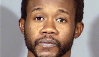 This undated Clark County Detention Center booking photo shows Mackie Lee Allen, 32, following his arrest Nov. 5, 2018, on an attempted murder charge in the October 2018 stabbing of Las Vegas restaurant owner Fabio Coppola. In a lawsuit filed Thursday, Sept. 5, 2019, in Nevada state court, Coppola accuses the on-demand delivery service DoorDash of negligence in hiring Allen, a three-time felon with what the lawsuit calls a history of violence and mental illness. (Las Vegas Metropolitan Police Department/Clark County Detention Center via AP)