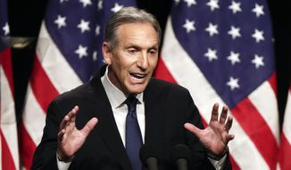 In this Feb. 7, 2019, file photo, former Starbucks CEO Howard Schultz speaks at Purdue University in West Lafayette, Ind. (AP Photo/Michael Conroy, File)