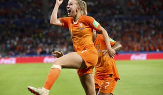 FILE - In this July 3, 2019, file photo, Netherlands' Jackie Groenen celebrates after scoring during the Women's World Cup semifinal soccer match between the Netherlands and Sweden, at the Stade de Lyon outside Lyon, France. The first-ever Manchester derby in the Women's Super League opens the season when the competition is still a boost in crowds after the big interest in England's run to the Women's World Cup semifinals. (AP Photo/Francisco Seco, File)