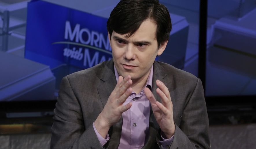 "FILE- In this Aug. 15, 2017 file photo, former pharmaceutical CEO Martin Shkreli speaks during an interview by Maria Bartiromo during her ""Mornings with Maria Bartiromo"" program on the Fox Business Network, in New York. The imprisoned pharmaceutical entrepreneur, who is serving prison time for fraud, has filed a fraud lawsuit against one of his former investors. (AP Photo/Richard Drew, File)"