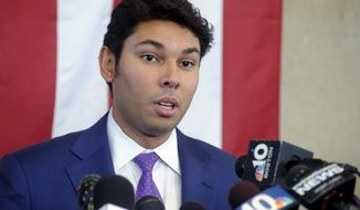 FILE - In this Oct. 16, 2018 file photo, Mayor Jasiel Correia speaks about his indictment during a news conference in Fall River, Mass. Correia was arrested on Friday, Sept. 6, 2019, and faces additional charges. (Dave Souza/The Herald News of Fall River via AP, File)