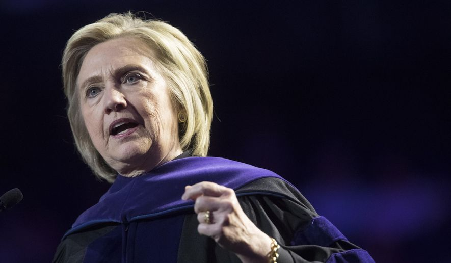 In this Wednesday, May 29, 2019, file photo, former Secretary of State Hillary Clinton delivers Hunter College's commencement address in New York. (AP Photo/Mary Altaffer) ** FILE **