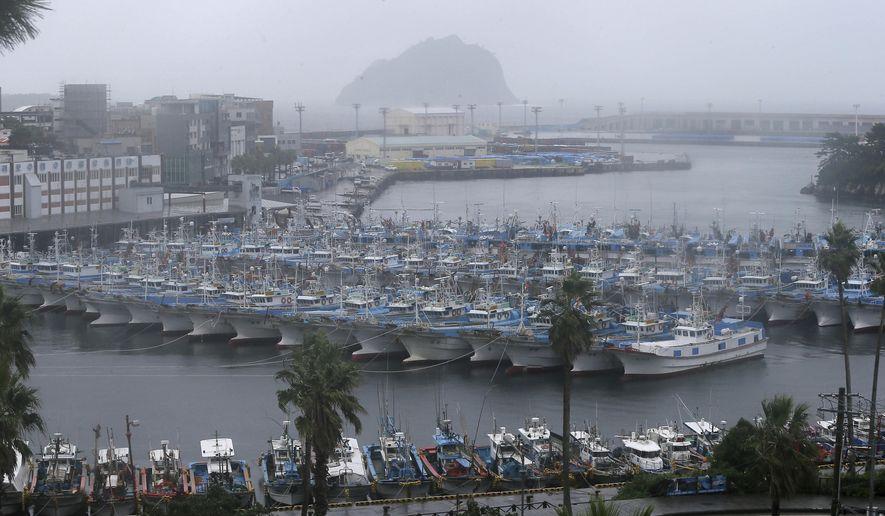 Fishing boats are anchored in port as Typhoon Lingling approaches to Korean peninsular on Jeju Island, South Korea, Friday, Sept. 6, 2019. (Byun Ji-chul/Yonhap via AP)