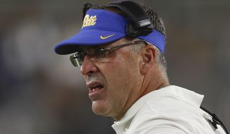 Pittsburgh head coach Pat Narduzzi watches as his team plays against Virginia in the second half of an NCAA college football game Saturday, Aug. 31, 2019, in Pittsburgh. (AP Photo/Keith Srakocic)