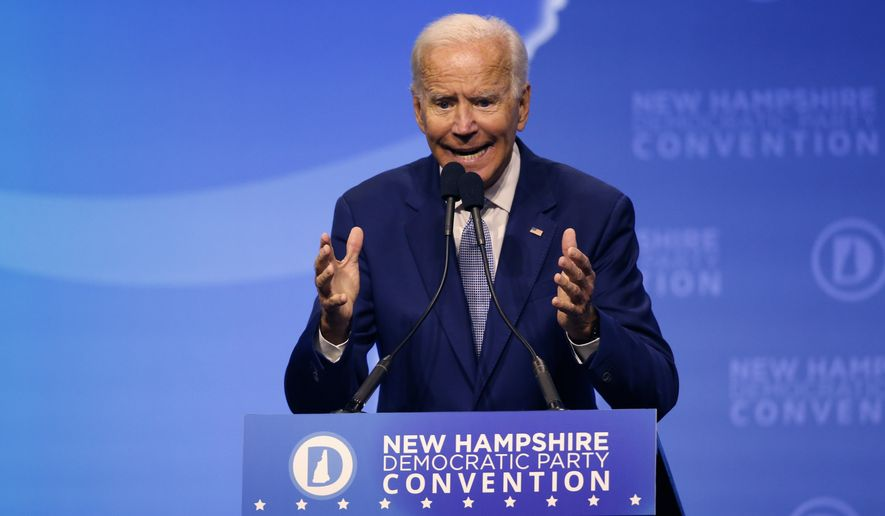 Democratic presidential candidate former Vice President Joe Biden speaks during the New Hampshire state Democratic Party convention, Saturday, Sept. 7, 2019, in Manchester, NH. (AP Photo/Robert F. Bukaty)