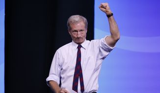 Businessman Tom Steyer acknowledges the crowd during the New Hampshire state Democratic Party convention, Saturday, Sept. 7, 2019, in Manchester, NH. (AP Photo/Robert F. Bukaty)
