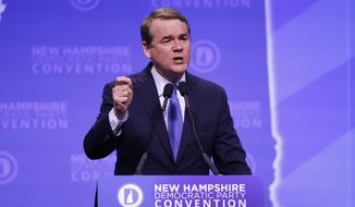 Democratic presidential candidate Sen. Michael Bennet, D-Colo., speaks during the New Hampshire state Democratic Party convention, Saturday, Sept. 7, 2019, in Manchester, NH. (AP Photo/Robert F. Bukaty)
