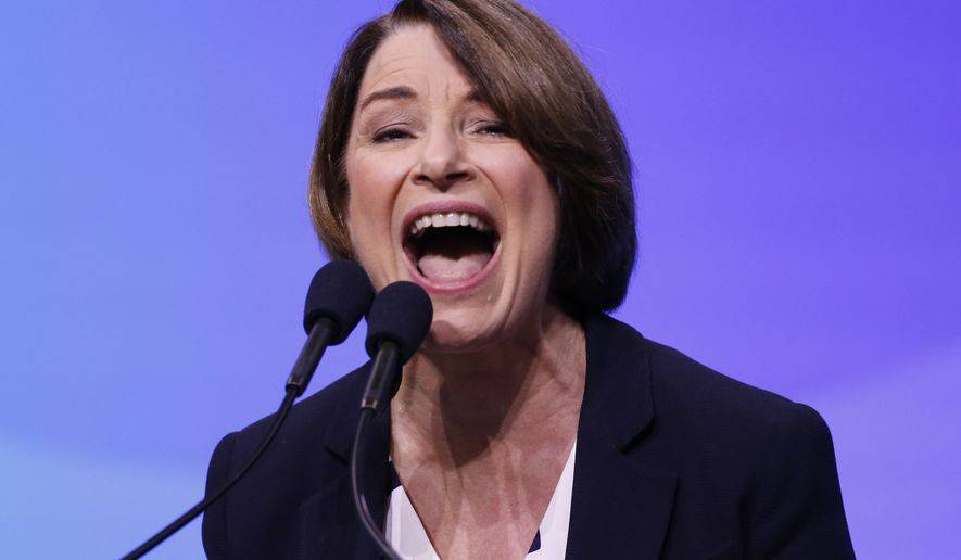 Democratic presidential candidate Sen. Amy Klobuchar, D-Minn., speaks during the New Hampshire state Democratic Party convention, Saturday, Sept. 7, 2019, in Manchester, NH. (AP Photo/Robert F. Bukaty)