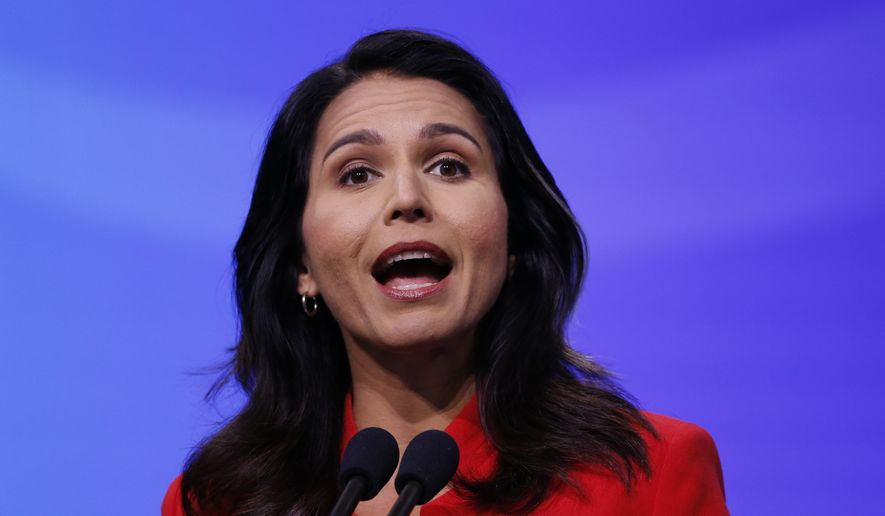 Democratic presidential candidate U.S. Rep. Tulsi Gabbard, D-Hawaii, speaks during the New Hampshire state Democratic Party convention, Saturday, Sept. 7, 2019, in Manchester, N.H. (AP Photo/Robert F. Bukaty) ** FILE **