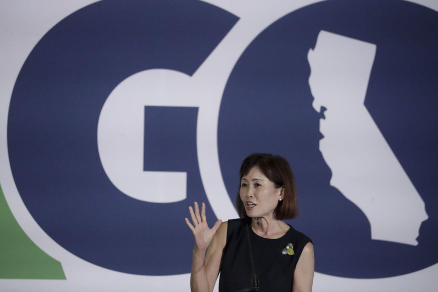 Michelle Steel, candidate for the 48th Congressional District speaks during the California GOP fall convention on Sept. 7, 2019, in Indian Wells, Calif. (AP Photo/Chris Carlson)  **FILE**