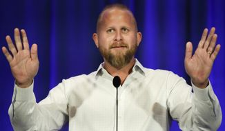 Brad Parscale campaign manager for Trump's 2020 reelection campaign speaks during the California GOP fall convention on Sept. 7, 2019, in Indian Wells, Calif. (AP Photo/Chris Carlson)