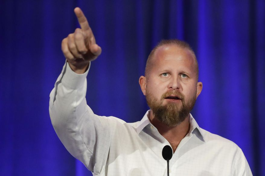 Brad Parscale campaign manager for Trump's 2020 reelection campaign speaks during the California GOP fall convention on Saturday, Sept. 7, 2019, in Indian Wells, Calif. (AP Photo/Chris Carlson)