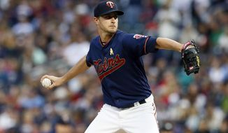 Minnesota Twins pitcher Jake Odorizzi throws against the Cleveland Indians in the first inning of a baseball game Saturday, Sept 7, 2019, in Minneapolis. (AP Photo/Jim Mone)