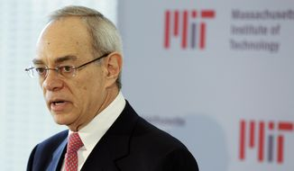 FILE - In this May 16, 2012, file photo, L. Rafael Reif addresses a news conference after he was announced as the 17th president of the Massachusetts Institute of Technology in Cambridge, Mass. President of the Massachusetts Institute of Technology Reif has ordered an independent investigation after a report about ties between Jeffrey Epstein and a prestigious research lab at the school, he wrote in a letter to the university community Saturday, Sept. 7, 2019. (AP Photo/Stephan Savoia, File)
