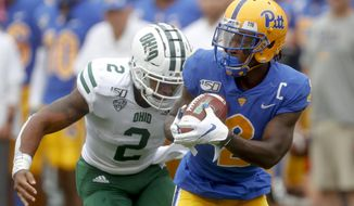 Pittsburgh wide receiver Maurice Ffrench, right, makes a catch in front of Julian Ross (2) during the first half of an NCAA college football game, Saturday, Sept. 7, 2019, in Pittsburgh. (AP Photo/Keith Srakocic)