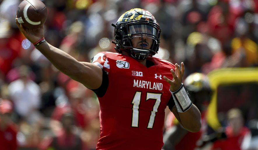 Maryland quarterback Josh Jackson (17) passes the football during the first half of an NCAA college football game against Syracuse, Saturday, Sept. 7, 2019, in College Park, Md. (AP Photo/Will Newton) ** FILE **