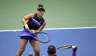 Bianca Andreescu, of Canada, waits for the return from Serena Williams, of the United States,during the women's singles final of the U.S. Open tennis championships Saturday, Sept. 7, 2019, in New York. (AP Photo/Sarah Stier)