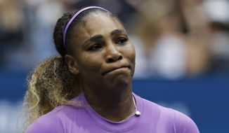 Serena Williams, of the United States, reacts after losing a point to Bianca Andreescu, of Canada, during the women's singles final of the U.S. Open tennis championships Saturday, Sept. 7, 2019, in New York. (AP Photo/Adam Hunger)