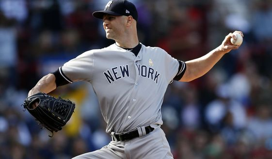 New York Yankees' J.A. Happ pitches during the second inning of a baseball game against the Boston Red Sox in Boston, Saturday, Sept. 7, 2019. (AP Photo/Michael Dwyer)