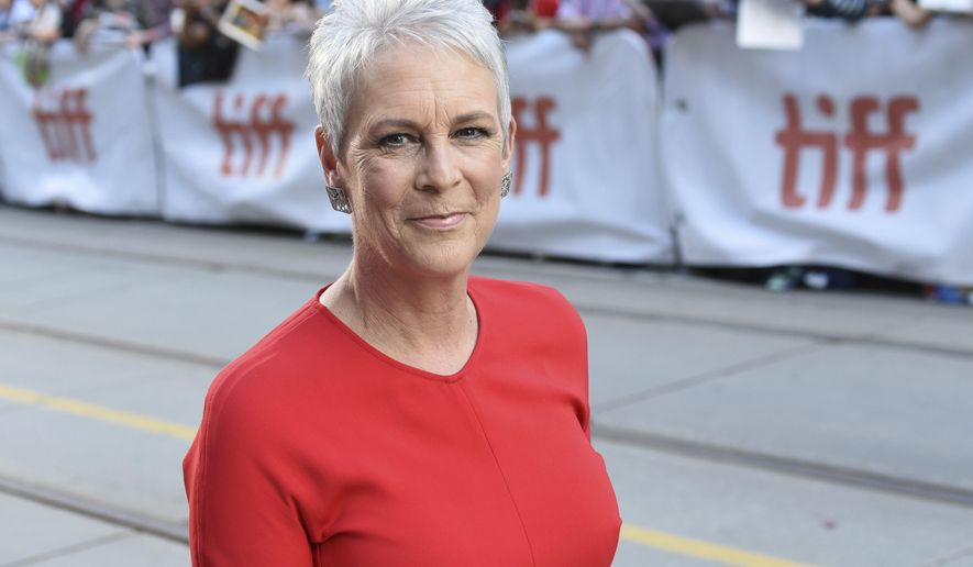 """Jamie Lee Curtis attends the premiere for """"Knives Out"""" on day three of the Toronto International Film Festival at the Princess of Wales Theatre on Saturday, Sept. 7, 2019, in Toronto. (Photo by Evan Agostini/Invision/AP)"""
