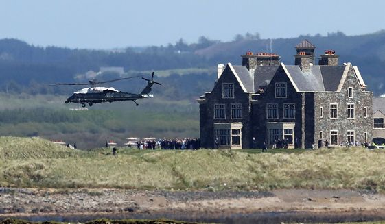 President Trump owns a golf resort in Doonbeg, Ireland. The cost of Mr. Pence's stay there is not yet known. (Associated Press)