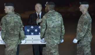 An Army carry team moves a transfer case containing the remains of Sgt. 1st Class Elis Barreto Ortiz, 34, from Morovis, Puerto Rico, past Secretary of State Mike Pompeo, Saturday, Sept. 7, 2019, at Dover Air Force Base, Del. According to the Department of Defense, Ortiz was killed in action Sept. 5, when a vehicle-borne improvised explosive device detonated near his vehicle in Kabul, Afghanistan. Ortiz was supporting Operation Freedom's Sentinel. (AP Photo/Cliff Owen)