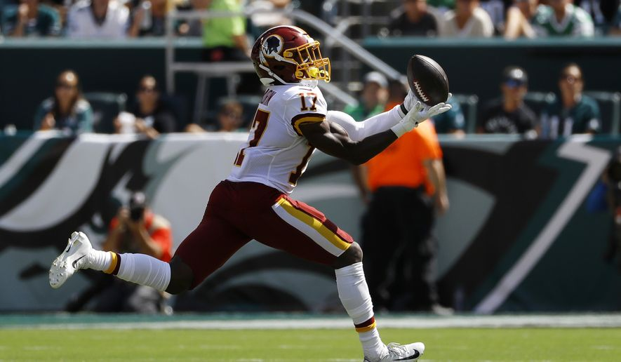 Washington Redskins' Terry McLaurin catches a touchdown pass during the first half of an NFL football game against the Philadelphia Eagles, Sunday, Sept. 8, 2019, in Philadelphia. (AP Photo/Michael Perez)