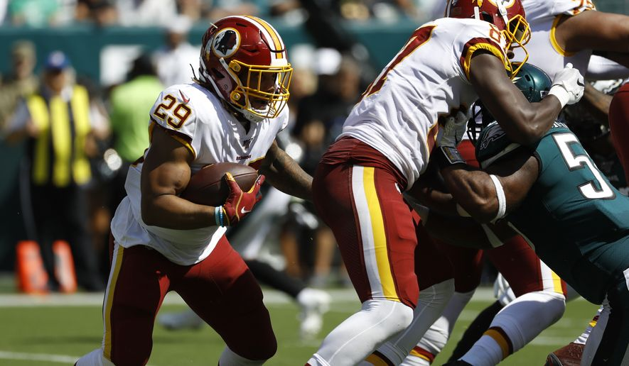 Washington Redskins' Derrius Guice runs during the first half of an NFL football game against the Philadelphia Eagles, Sunday, Sept. 8, 2019, in Philadelphia. (AP Photo/Michael Perez)