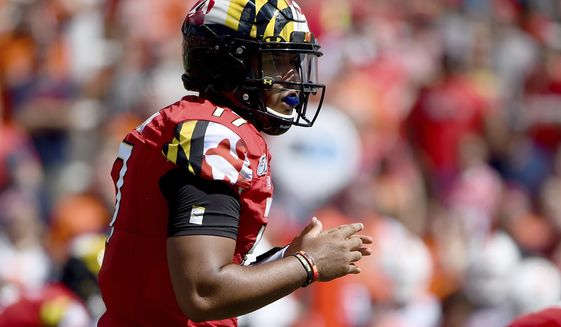 Maryland Terrapins quarterback Josh Jackson (17) prepares for a snap during the first half of an NCAA college football game against the Syracuse Orange, Saturday, Sept. 7, 2019, in College Park, Md. (AP Photo/Will Newton)
