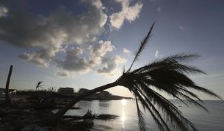 A bent palm tree is silhouetted against a setting sun, in the aftermath of Hurricane Dorian in Marsh Harbor, Abaco Island, Bahamas, Saturday, Sept. 7, 2019. The Bahamian health ministry said helicopters and boats are on the way to help people in affected areas, though officials warned of delays because of severe flooding and limited access.((AP Photo/Fernando Llano)