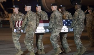 An Army carry team moves a transfer case containing the remains of Sgt. 1st Class Elis Barreto Ortiz, 34, from Morovis, Puerto Rico, Saturday, Sept. 7, 2019, at Dover Air Force Base, Del. According to the Department of Defense, Ortiz was killed in action Sept. 5, when a vehicle-borne improvised explosive device detonated near his vehicle in Kabul, Afghanistan. Ortiz was supporting Operation Freedom's Sentinel. (AP Photo/Cliff Owen)